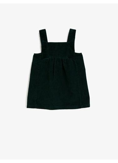 Koton Pamuklu Askili Kadife Elbise Yeşil